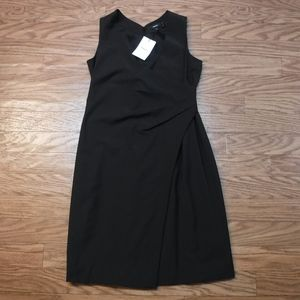 *Theory Black Crossover Wrap Black Wool Dress*